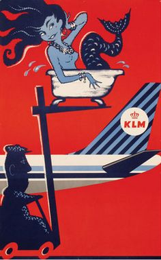 KLM Royal Dutch Airlines Mitchell Wright Illustration 1960s