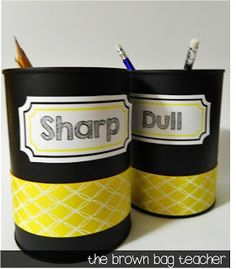 Recycling coffee cans for classroom organizers! :)