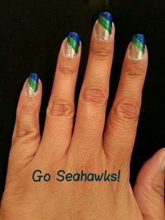 Seattle Seahawks nail art | Seahawks Nails!