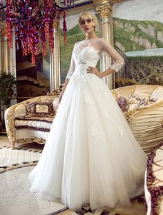 Wedding Dress A Line Sweep Brush Train Tulle Bateau With Crystal Brooch and Appliques