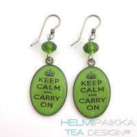 Vihreät Keep Calm korvikset - Helmipaikka Oy - Joka päivä on korupäivä - Helmipaikka.fi -  Tea Design korvikset - Earrings