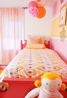 Why decide on one stripe color when you could do two (or three)? (found via MadeByGirl: Dream Nursery)
