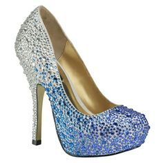 Benjamin Adams Rio Blue Evening Shoes - Wedding Shoes - Crystal Bridal Accessories