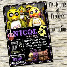 Five Nights At Freddy's Birthday Invitation - FNAF Chalkboard Birthday Party Invite - Five Nights At Freddy's Printable And Digital File