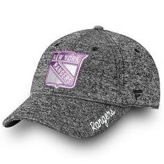 8a140d542cff3 Women s New York Rangers Fanatics Branded Black White 2018 Hockey Fights  Cancer Fundamental Adjustable Hat