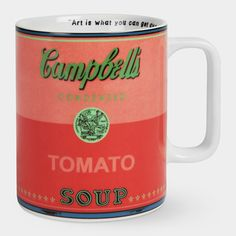 Pretty much the coolest mug we've ever seen, Warhols' Cambells Soup mug from MOMA store.