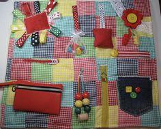 Colorful Gingham Fidget Sensory Activity Quilt Blanket
