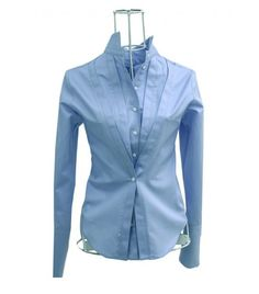 Chemise femme Ken Okada coton bleu double face originale elegante