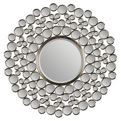 This contemporary mirror from Ren-Wil features dozens of small mirrors and a large beveled round mirror in a satin-nickel plated metal frame. This mirror offers a sophisticated, clean look that makes this it a natural fit in many decors. Wall Mirrors Entryway, Wall Mirrors Set, Unique Mirrors, Rustic Wall Mirrors, Small Mirrors, Living Room Mirrors, Mirror Art, Round Wall Mirror, Round Mirrors