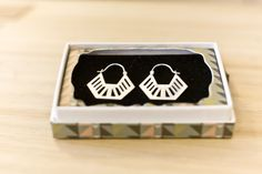 Deco Half Hex Earrings - brushed sterling silver $70