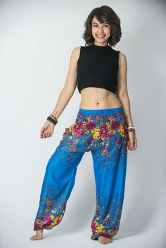 Floral Women's Harem Pants in Ocean Blue
