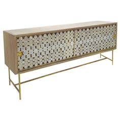 Serena Buffet with Sliding Polished Capiz Shell Doors and Antiqued Gold Base Wood Frame Available in Black, Charcoal, Dark Brown, Driftwood or Rustic White Modern Buffet, Modern Decor, Rustic Modern, Gold Wood, Wood And Metal, Handmade Furniture, Modern Furniture, Studio Furniture, Oly Studio