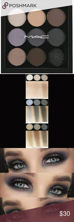 MAC Navy Times Nine Eyshadow Palette Never used, Great gift idea!  Excellent travel makeup, 9 smokey shades in 1 compact  Shades: - Silver Fog(silver grey) - Blonde Mink(pale khaki with sparkles) - Copperplate(muted mid tone grey) - JG Grey(frosty grey blue) - Mulled Over(matte cool blue grey) - Cast Iron(matte charcoal) - Cloudscape(khaki) - Club(red-brown with green pearl) - Black Tied(black with silver sparkle) MAC Cosmetics Makeup