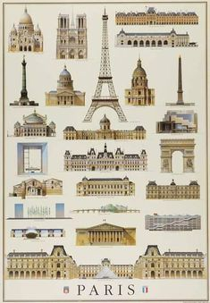 Monuments Of Paris Travel Poster - 50 x 71 cm Religious Architecture, Classic Architecture, Architecture Student, Historical Architecture, Architecture Plan, Beautiful Architecture, Architecture Details, Famous Architecture, Sustainable Architecture
