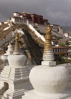 Stupas in front of the Potala Palace, Lhasa, Xizang, China