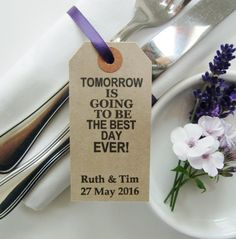 Best Day Ever-Rehearsal Dinner Table Decor-Vintage Style Napkin Tags-Rustic Wedding Rehearsal Dinner-Rehearsal Ideas-Rehearsal Dinner Decor Vintage Wedding Favors, Wedding Napkins, Wedding Table, Rustic Wedding, Wedding Ideas, Decor Wedding, Dinner Party Favors, Rehearsal Dinner Decorations, Dinner Parties