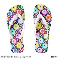 Shop for women's flip flops on Zazzle! Check out our selection of cool, comfortable women's thong sandals. Psychedelic Pattern, Evil Eye Charm, Womens Flip Flops, Flipping, Flip Flop Sandals, Circles, Colorful, Stylish