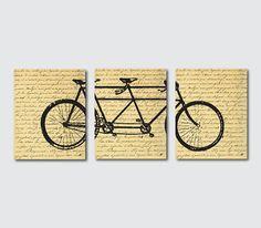 Wall Decor - Tandem Bike Wall Art - Wall Art Trio - Room Decor ...