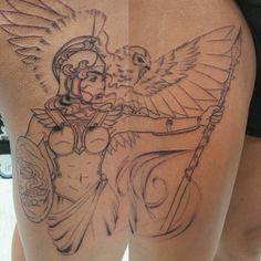 Athena started yesterday on Nathalyn. Greek Goddess Tattoo, Greek Mythology Tattoos, Athena Tattoo, God Tattoos, Tatoos, Owl Tattoo Design, Tattoo Designs, Norse Tattoo, Girls With Sleeve Tattoos