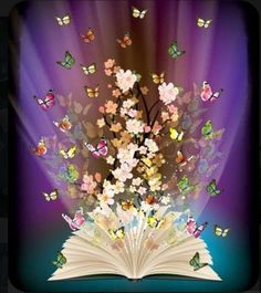 Vector of 'open book with butterflies flying from it', – Best Books Beautiful Gif, Beautiful Flowers, Open Book Tattoo, Open Book Drawing, Book Wallpaper, Reading Art, Folded Book Art, Butterflies Flying, Book Aesthetic