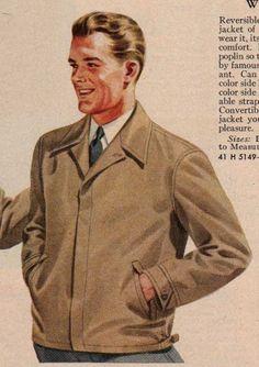 1940's Men's Jacket- Gaberdine Jacket - 1944