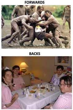 Rugby Forwards vs. Backs - As a former tight head prop, I can assure you these are accurate photos