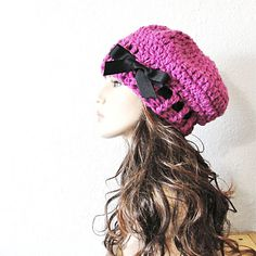 Fuchsia Pink Beret Hand Crocheted Slouchy Hat with by kanokwalee, $42.00