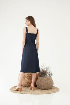Button Denim Dress - Dresses - Clothing - Shop - Cloth Inc Denim Jumper, One Piece, Buttons, Summer Dresses, Clothing, Model, How To Wear, Outfits, Shopping