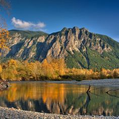 Mt Si over the Snoqualmie River, WA. This is why I live in Washington :)