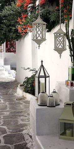 Outdoor Rooms, Outdoor Living, Exterior Design, Interior And Exterior, Exterior Paint, Bar Patio, Greek Decor, Mediterranean Homes, Mediterranean Architecture