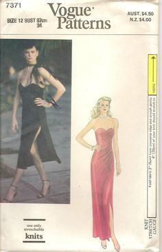 70s Vogue 7371 Evening Strapless Dress Sewing Pattern Size 12 Uncut