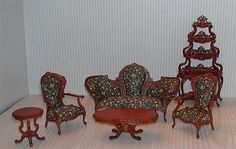 MINIATURE DOLLHOUSE 1:12 SCALE-BESPAQ CATARINA PARLOUR SET 2843-NWN-SET (6 $325.00 PCS.)