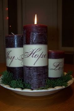 Will be doing this for our table, planning on using the Unity Candle from our wedding as the The Christ Candle. Good way to remind us of both covenants. :)