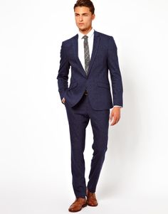 ASOS Navy Suit In Fleck