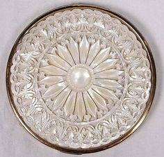 Vintage ornately carved mother of pearl powder compact c1950s
