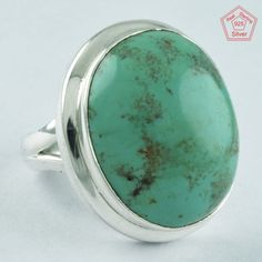 TURQUOISE STONE RING, 925 STERLING SILVER, FASHION RING R4976, SZ. 6.5 US #SilvexImagesIndiaPvtLtd #Statement #AllOccasion