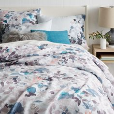 Belgian Flax Linen Watercolour Garden Quilt Cover + Pillowcases