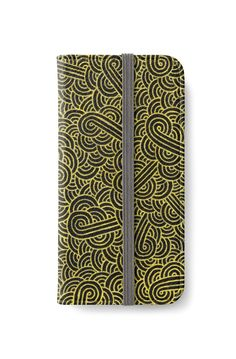 Black and faux gold swirls doodles iPhone Wallet by @savousepate on @redbubble #iphonewallet #phonewallet #zentangle #doodles #abstract #modern #graphic #geometric #bling #black #yellow #gold