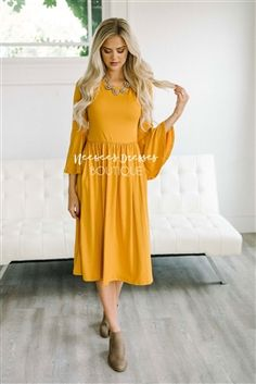 Solid Golden Bell Sleeve Modest Dress Bridesmaids Dress, Church Dresses, dresses for church, modest bridesmaids dresses, trendy modest dresses, modest womens clothing, affordable boutique dresses, cute modest dresses, mikarose, best modest boutique
