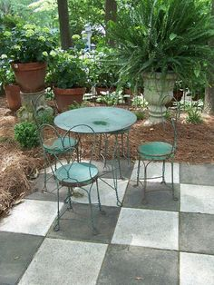 outside paint some tiles white for checkerboard effect patio stonestone - Patio Stone Ideas With Pictures