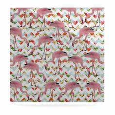 """Suzanne Carter """"Flamingo Chevron & Roses"""" Pink Digital Luxe Square Panel"""