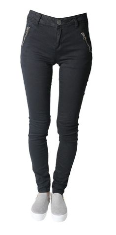 New Womens Thick Stretchy Black Skinny Fit Double Zip Jeans Jeggings Leggings