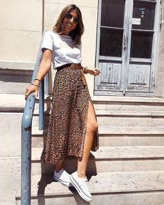 Casual Summer Outfits, Spring Outfits, Cool Outfits, Outfit Summer, Long Skirt Outfits, Vintage Summer Outfits, Midi Skirt Outfit, Overalls Outfit, Summer Ootd