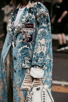 A beautifully embroidered Miu Miu coat snapped at the 2017 Milan Fashion Week. Fashion Details, Look Fashion, High Fashion, Womens Fashion, Fashion Design, Fashion Trends, Net Fashion, Street Fashion, Fashion Coat