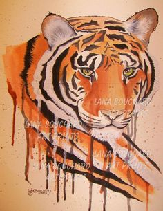 'Crying Tiger' Framed Print by Lana Reese Fortune Cards, Wall Art Prints, Framed Prints, Tiger Art, Bedroom Art, Endangered Species, Fine Art America, Wildlife, My Arts