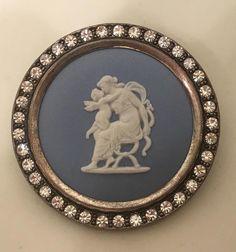 WEDGWOOD Sterling Silver Jasperware Angel/Cherub Cameo Brooch Rhinestone Frame #Wedgwood