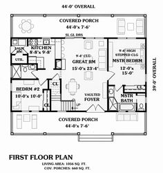 First Floor Plan of Cape Cod   Cottage   Country   Farmhouse  Traditional   Vacation   House Plan 79517