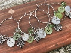 6 x Wine Glass Charms with Green & White Buttons with a Lucky Four Leaf Clover Charms
