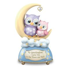 A unique granddaughter-inspired owl Heirloom Porcelain® music box with illumination and gold, Swarovski® crystal and sentiment. Order now! Nom Noms Toys, Christmas Gifts, Christmas Ornaments, Christmas Ideas, Owl Jewelry, Baby Owls, Always Love You, Nursery Rhymes, Trinket Boxes