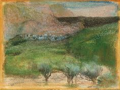 """""""Olive Trees Against a Mountainous Background,"""" 1890-1892, Edgar Degas. Pastel over monotype on paper."""